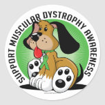 Muscular Dystrophy Dog Round Stickers