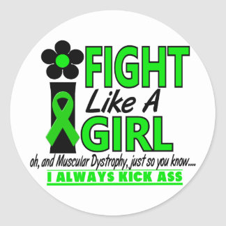 Muscular Dystrophy I Fight Like A Girl 1.2 Classic Round Sticker