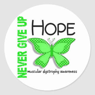 Muscular Dystrophy Never Give Up Hope Butterfly 4 Classic Round Sticker