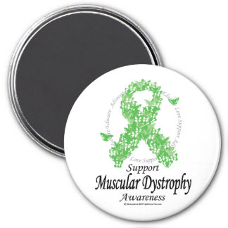 Muscular Dystrophy Ribbon of Butterflies 3 Inch Round Magnet