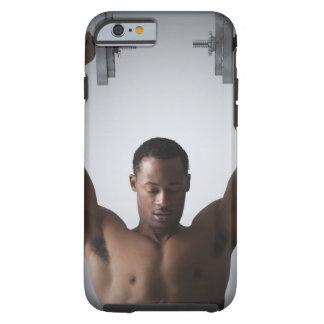 Muscular man lifting dumbbells 2 tough iPhone 6 case