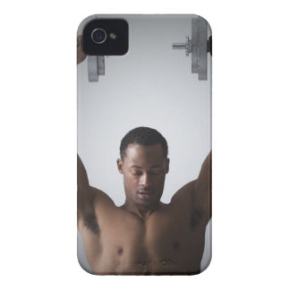 Muscular man lifting dumbbells 2 iPhone 4 Case-Mate case