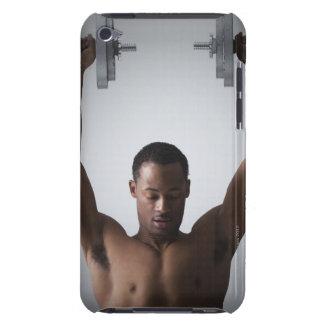 Muscular man lifting dumbbells 2 iPod Case-Mate case