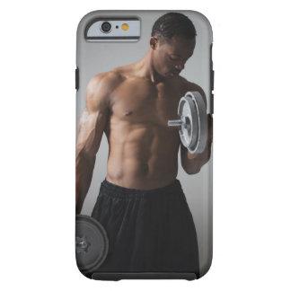 Muscular man lifting dumbbells tough iPhone 6 case