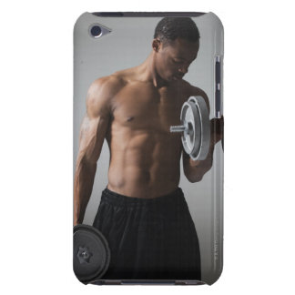Muscular man lifting dumbbells Case-Mate iPod touch case