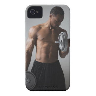 Muscular man lifting dumbbells iPhone 4 cover