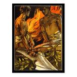 Muscular, Shirtless Men Working at a Forge Postcard