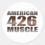 músculo americano 426 Hemi Etiquetas Redondas