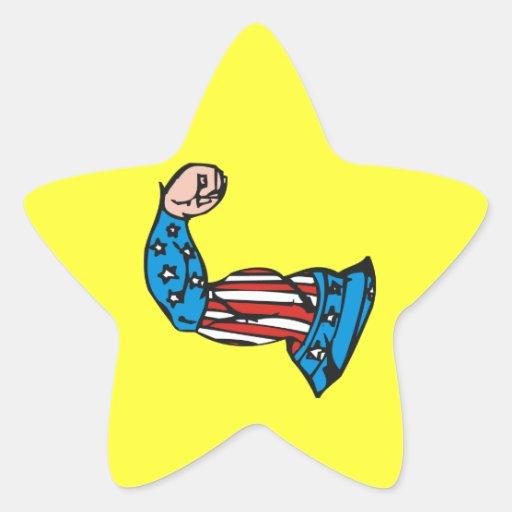 Músculo americano calcomanía forma de estrella