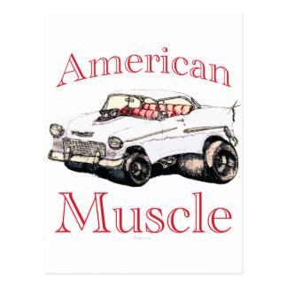 músculo americano chevy 55 tarjeta postal
