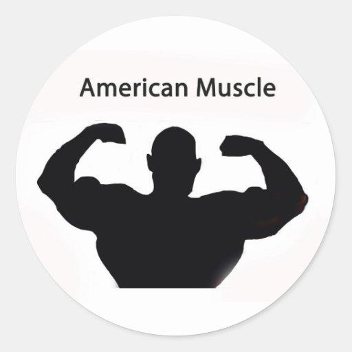 Músculo americano etiqueta redonda