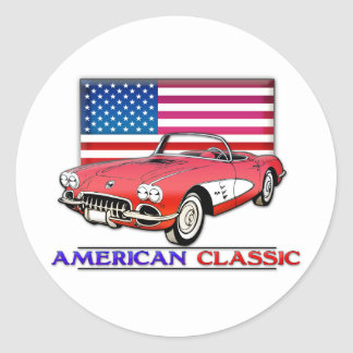 Músculo clásico americano pegatina redonda