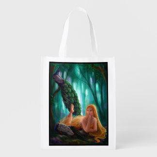Muse and Peacocks Reusable Grocery Bag