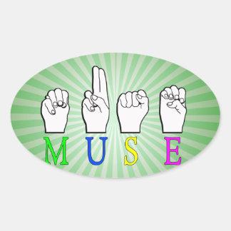 MUSE ASL NAME SIGN FINGERSPELLED OVAL STICKER