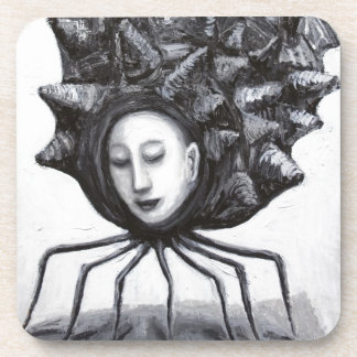 Muse in a shell (surrealism) beverage coaster