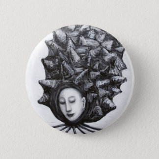 Muse in a shell (surrealism) pinback button