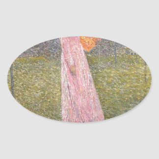 Muse in the Fields by Henri Martin Oval Sticker