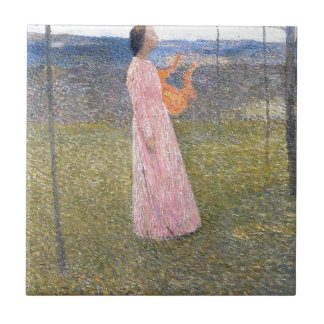 Muse in the Fields by Henri Martin Small Square Tile