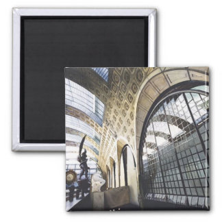 """""""Musee d'Orsay"""" Paris Museum Watercolor 2 Inch Square Magnet"""