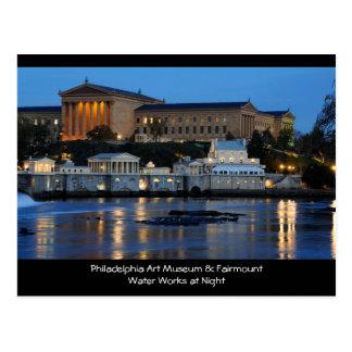 Museo de arte de Philadelphia y trabajos de agua d Tarjeta Postal