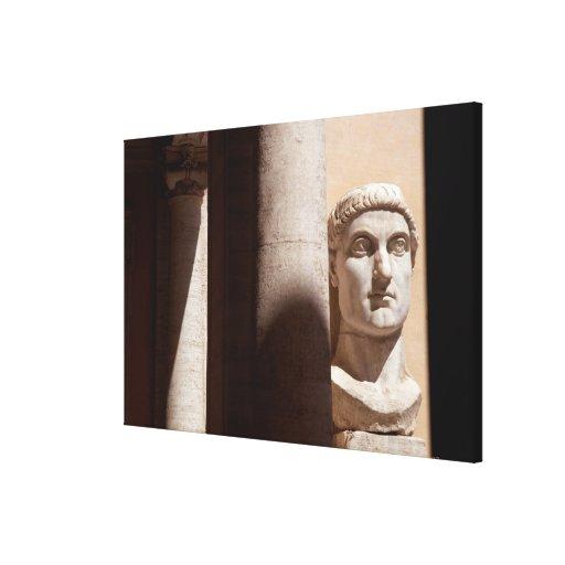Museo del capitolio, cara del busto del emperador  impresión en lona estirada