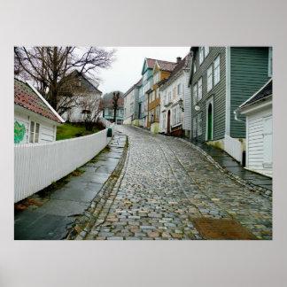 Museo viejo de Bergen (Noruega) Póster