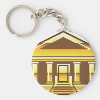 Museum Bank Government Building Golden Vector Keychain