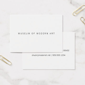 Museum Minimal Center Front and Back Two Business Card