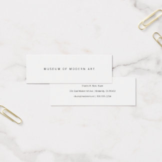 Museum Minimal Center Front and Back Two Mini Business Card