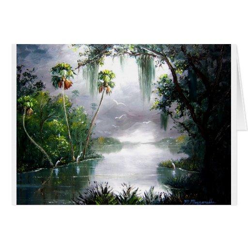 Musgo brumoso del río tarjeta de felicitación