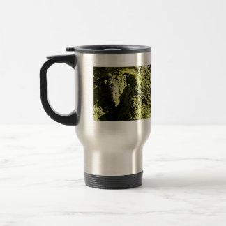 Musgo verde claro en tronco de árbol taza de café