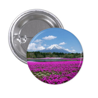 Musgo y el monte Fuji rosados en el fondo Pin Redondo De 1 Pulgada