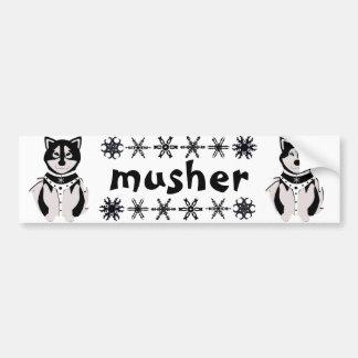 """Musher"" Malamute and Husky Sled Dogs Car Bumper Sticker"