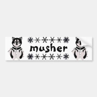 """""""Musher"""" Malamute Sled Dogs Car Bumper Sticker"""