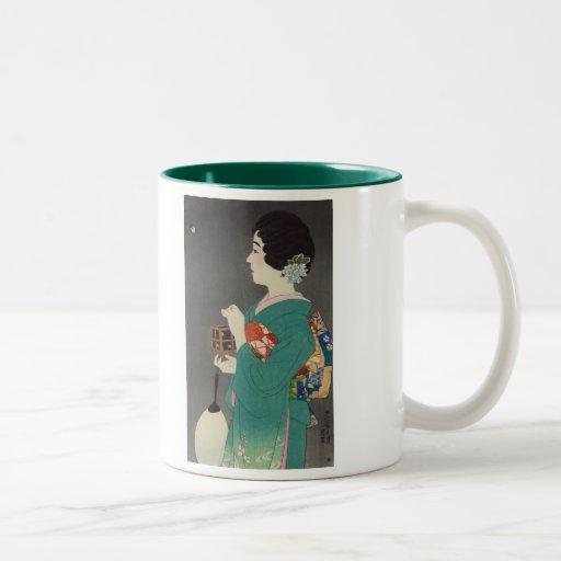 Mushikago, Itō Shinsui - impresión de Woodblock Taza De Dos Tonos