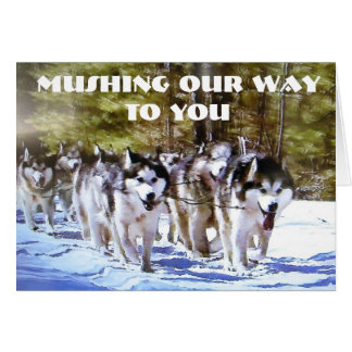MUSHING OUR WAY TO YOU BIRTHDAY CARD