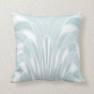 Mushroom Abstract - Art Deco - Aqua Throw Pillow