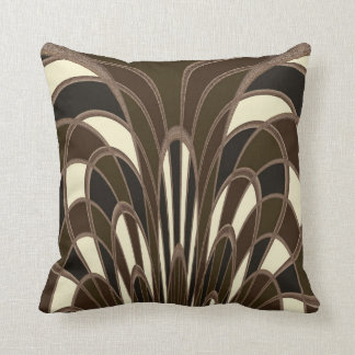 Mushroom Abstract - Art Deco - Brown Throw Pillow