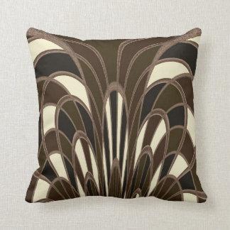 Mushroom Abstract - Art Deco Brown Throw Pillow