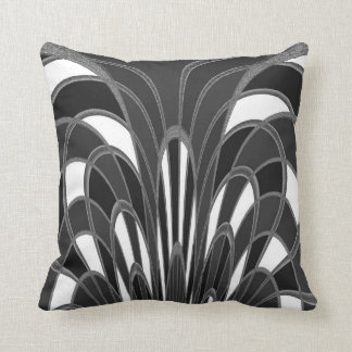 Mushroom Abstract - Art Deco - Gray Grey Throw Pillow