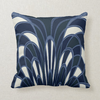 Mushroom Abstract - Art Deco - Navy Throw Pillow