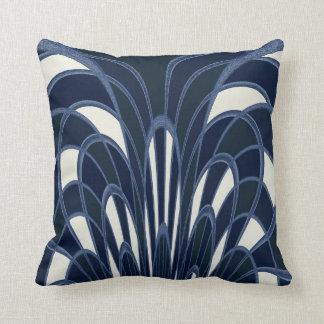 Mushroom Abstract - Art Deco Navy Throw Pillow