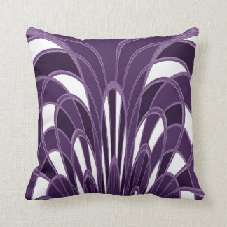 Mushroom Abstract - Art Deco - Plum Throw Pillow
