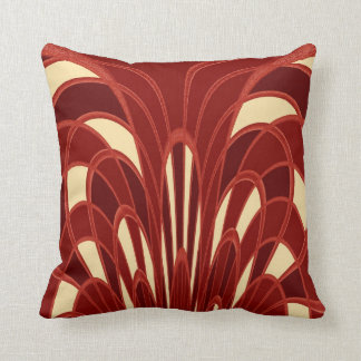 Mushroom Abstract - Art Deco Red Throw Pillow