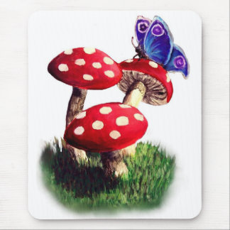 Mushroom and butterfly mouse pad