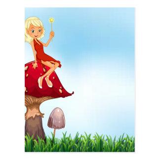Mushroom and fairy postcard