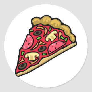 Mushroom and pepperoni pizza slice round sticker