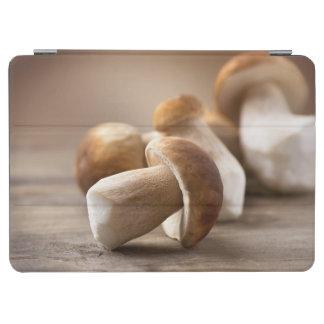 Mushroom Boletus Over Wooden Background. Autumn iPad Air Cover