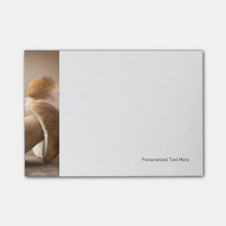 Mushroom Boletus Over Wooden Background. Autumn Post-it® Notes