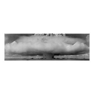 Mushroom cloud from an atomic bomb explosion poster